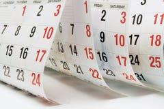 Paginaciones del calendario Foto de archivo libre de regalías