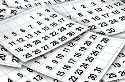 Paginaciones del calendario Fotografía de archivo libre de regalías