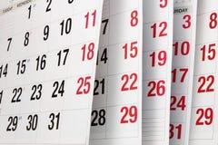 Paginaciones del calendario fotos de archivo