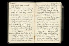 Paginaciones del diario del soldado de la Primera Guerra Mundial Imagen de archivo libre de regalías