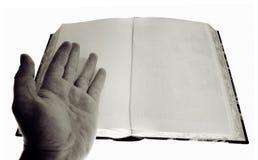 Paginaciones en blanco del libro de la mano foto de archivo