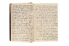 Paginaciones en un diario antiguo del recorrido imagen de archivo libre de regalías