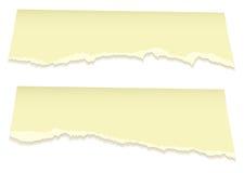Paginaciones rasgadas superiores en amarillo Imagenes de archivo