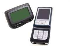 Paginador y teléfono celular sin hilos Fotografía de archivo