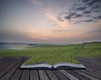 Pagine creative di concetto di alba di estate del libro sopra paesaggio di Immagini Stock