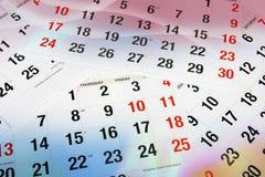 Pagine del calendario Fotografia Stock Libera da Diritti