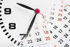 Pagine del calendario e dell'orologio Fotografia Stock Libera da Diritti
