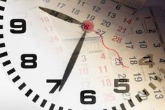 Pagine del calendario e dell'orologio Immagini Stock Libere da Diritti