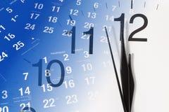 Pagine del calendario e dell'orologio Fotografia Stock