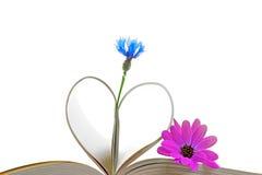 Pagine del libro con i fiori Fotografia Stock