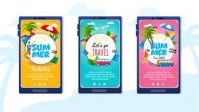 Pagine di atterraggio messe per l'applicazione mobile di viaggio royalty illustrazione gratis