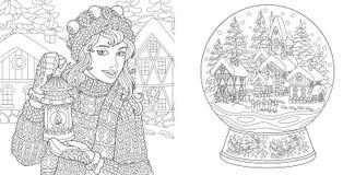 Pagine di coloritura con la ragazza di inverno e la palla della neve di magia illustrazione vettoriale