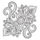 Pagine di coloritura per gli adulti Elementi di Henna Mehndi Doodles Abstract Floral illustrazione di stock