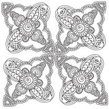 Pagine di coloritura per gli adulti Elementi di Henna Mehndi Doodles Abstract Floral illustrazione vettoriale