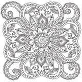 Pagine di coloritura per gli adulti Elementi di Henna Mehndi Doodles Abstract Floral Fotografia Stock Libera da Diritti