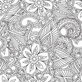Pagine di coloritura per gli adulti Elementi di Seamles Henna Mehndi Doodles Abstract Floral Immagine Stock