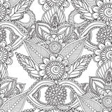 Pagine di coloritura per gli adulti Elementi di Seamles Henna Mehndi Doodles Abstract Floral illustrazione di stock