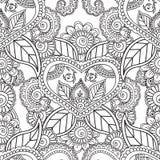 Pagine di coloritura per gli adulti Elementi di Seamles Henna Mehndi Doodles Abstract Floral Immagini Stock
