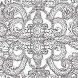 Pagine di coloritura per gli adulti Elementi di Seamles Henna Mehndi Doodles Abstract Floral illustrazione vettoriale