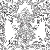 Pagine di coloritura per gli adulti Elementi di Seamles Henna Mehndi Doodles Abstract Floral Fotografia Stock