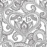 Pagine di coloritura per gli adulti Elementi di Seamles Henna Mehndi Doodles Abstract Floral Fotografie Stock