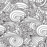 Pagine di coloritura per gli adulti Modello senza cuciture impreciso di scarabocchio della natura di vettore ornamentale disegnat Immagine Stock
