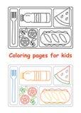 Pagine di coloritura per i bambini con il vassoio del pranzo Fotografia Stock Libera da Diritti