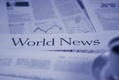 Pagine di notizie di mondo Fotografie Stock