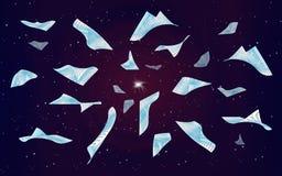 Pagine di volo nel cielo notturno illustrazione di stock