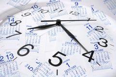Pagine ed orologio del calendario Fotografia Stock