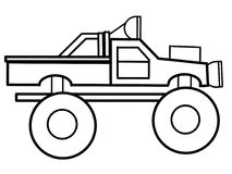 Pagine educative di coloritura del camion di mostro Immagine Stock