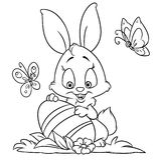 Pagine felici di coloritura del coniglietto di pasqua illustrazione di stock