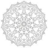 Pagine la mandala del colorante con los corazones aislados en blanco Imagen de archivo