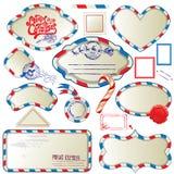 Pagine nello stile della posta della posta con testo calligrafico scritto a mano Immagine Stock