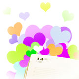 Pagine o diário para o 14 de fevereiro em um fundo romântico Imagens de Stock