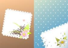 Pagine per il menu con i fiori ed i fagioli Fotografia Stock