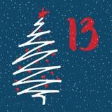 Paginez Advent Calendar pendant 25 jours de Noël avec l'espace pour le texte Photos stock
