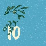 Paginieren Sie Advent Calendar 25 Tage Weihnachten mit Raum für Text Stockbild