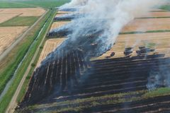 Paglia bruciante nei campi di grano dopo la raccolta fotografie stock libere da diritti
