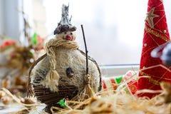 Paglia del guardiano di incanto del pupazzo di neve Fotografia Stock