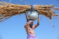 Paglia di trasporto della donna Fotografia Stock Libera da Diritti