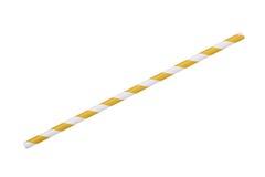 Paglia a strisce gialla della carta di eco isolata su bianco Immagine Stock