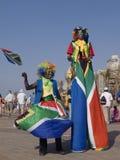 Pagliacci in bandierine sudafricane Fotografia Stock Libera da Diritti