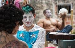 Pagliacci di Cirque che ridono scioccamente Fotografie Stock Libere da Diritti