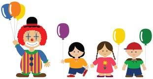 Pagliaccio che dà gli aerostati ai bambini Illustrazione Vettoriale