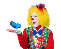 Pagliaccio che tiene farfalla blu Fotografia Stock Libera da Diritti