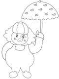 Pagliaccio con la pagina di coloritura dell'ombrello illustrazione di stock