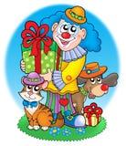 Pagliaccio di circo con gli animali domestici Fotografia Stock