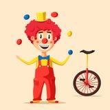 Pagliaccio di circo felice Illustrazione di vettore del fumetto Fotografia Stock