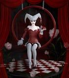 Pagliaccio diabolico su una fase surreale della scacchiera con la tenda rossa royalty illustrazione gratis